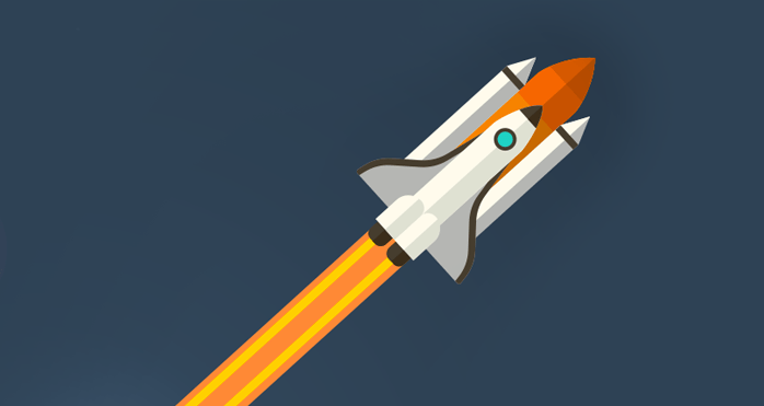 An illustration of a rocket launching into space