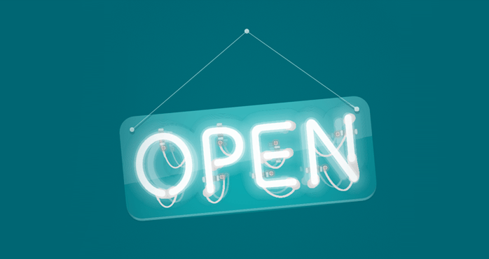 illustration of a neon open sign