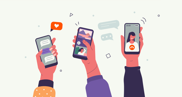 Illustration of three smart phones looking at social media channels