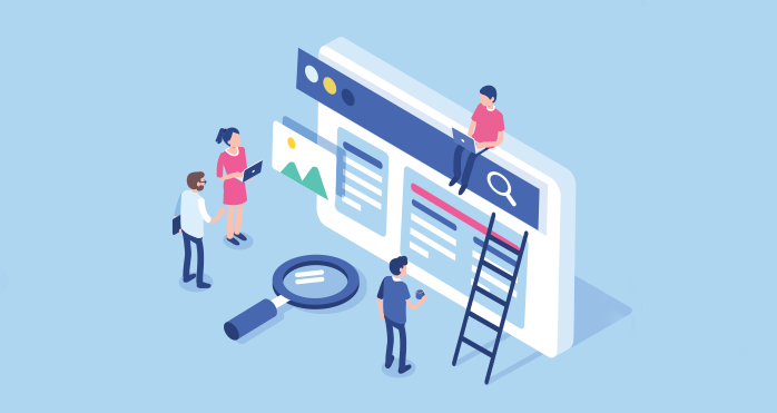 Illustration of people building the structure of a website