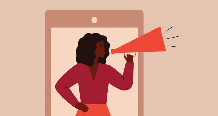 illustration of women talking into megaphone