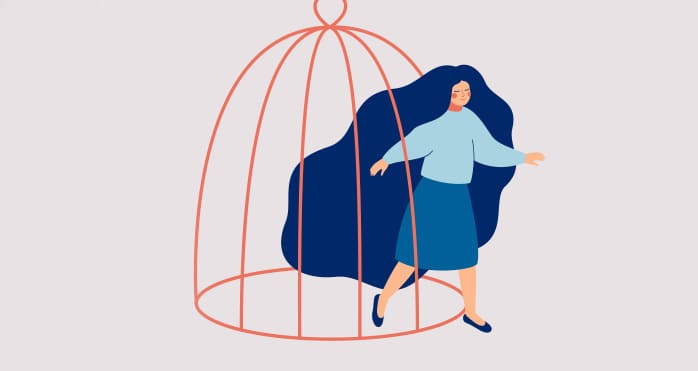 Illustration of women breaking out of cage