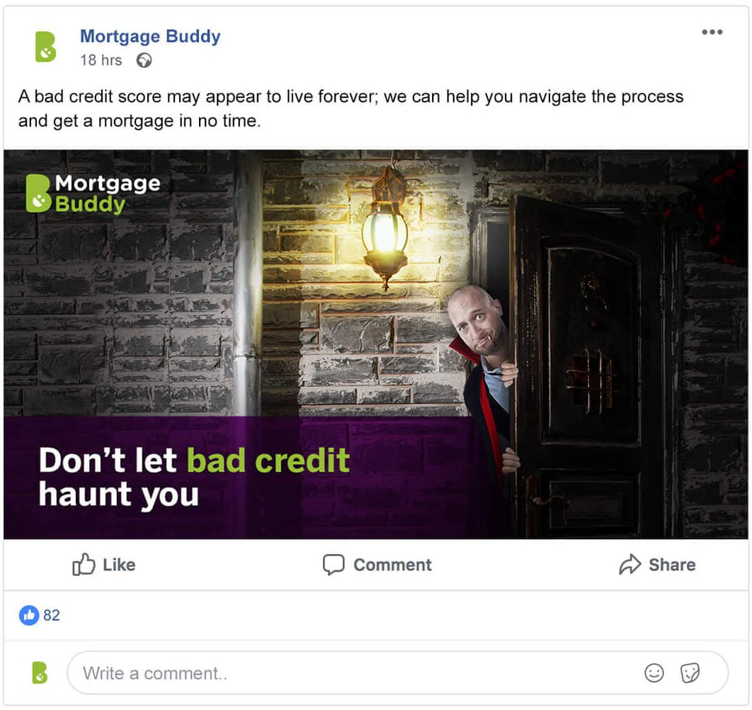 Screenshot of a Facebook advertisement for Mortgage Buddy