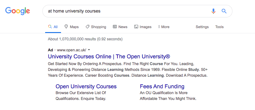 Screenshot of Google Search Result Page, showing a Sponsored Ad for Open University