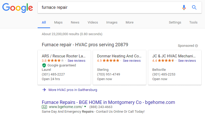 Screenshot of a Local Services Ad on Google for Furnance Repairs