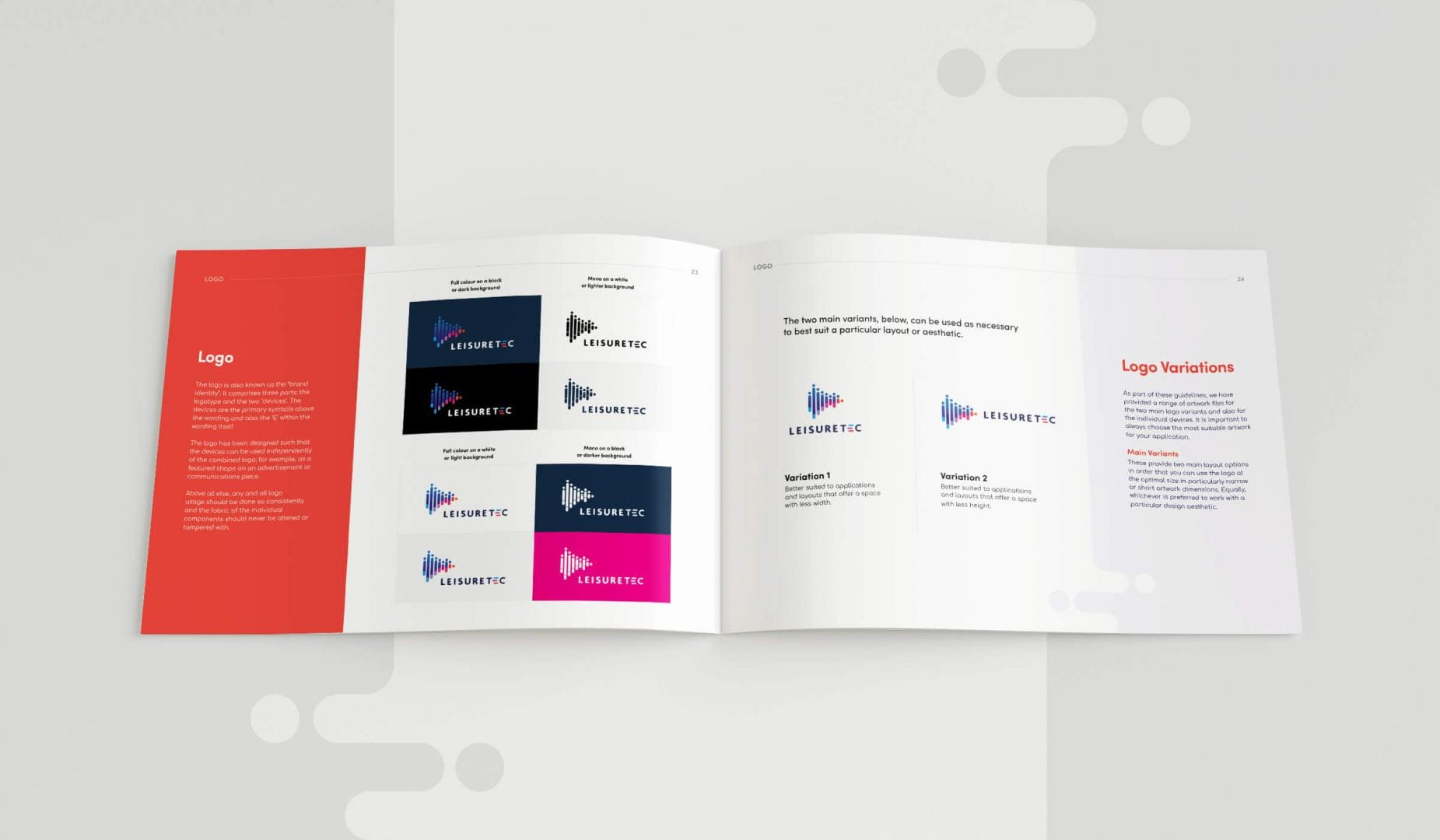 Leisuretec Brands Guidelines Logo Variations Spread