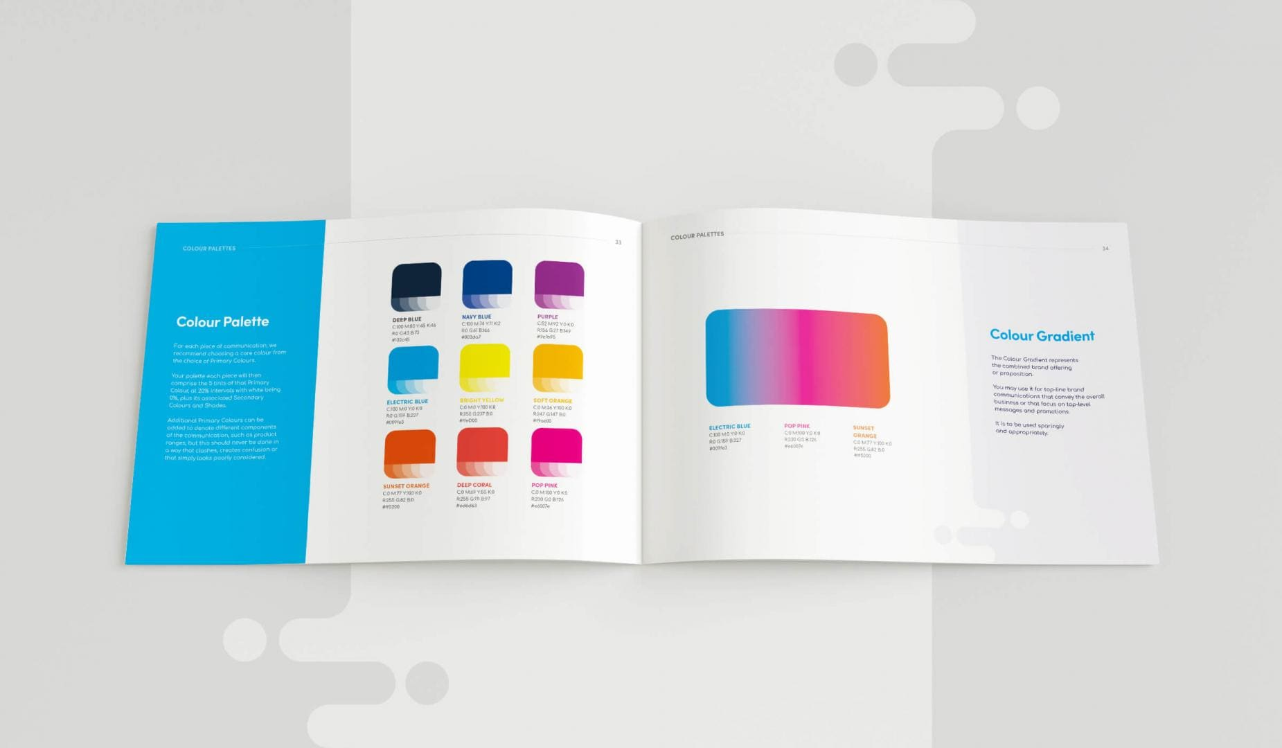 Leisuretec Brands Guidelines Colour Palette Spread