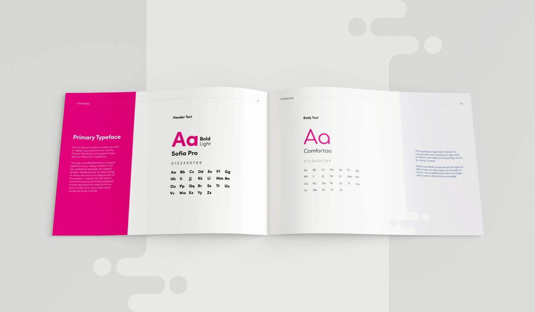 Leisuretec Brands Guidelines Typeface Spread