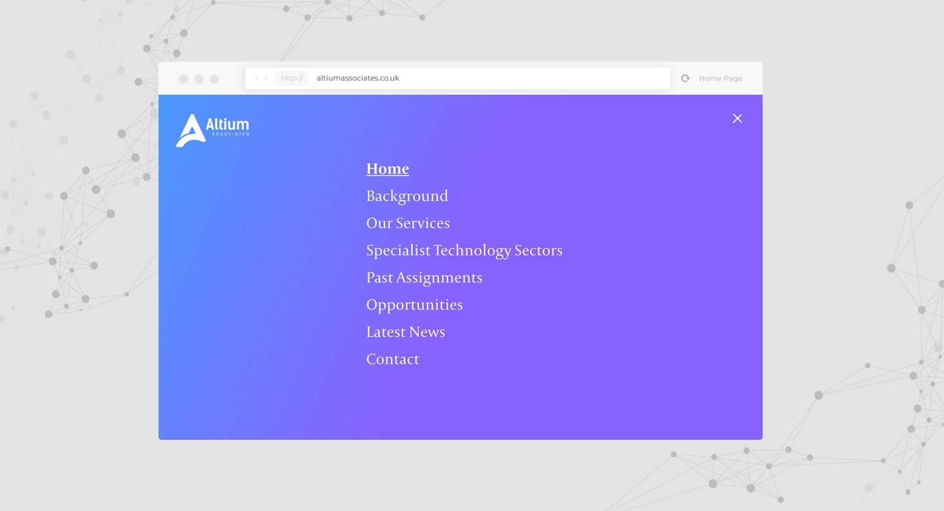 Altium Associates Website - Navigation Screenshot
