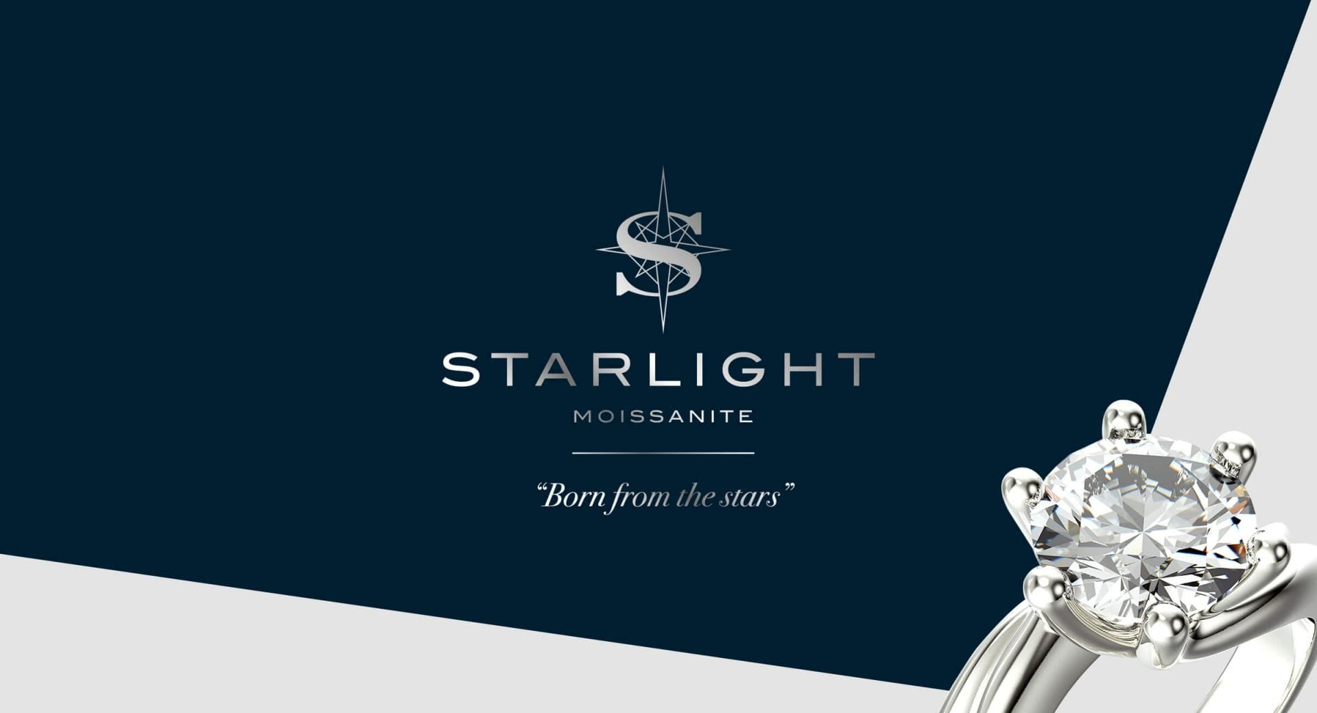 Starlight Moissanite Logo with a picture of a moissanite ring