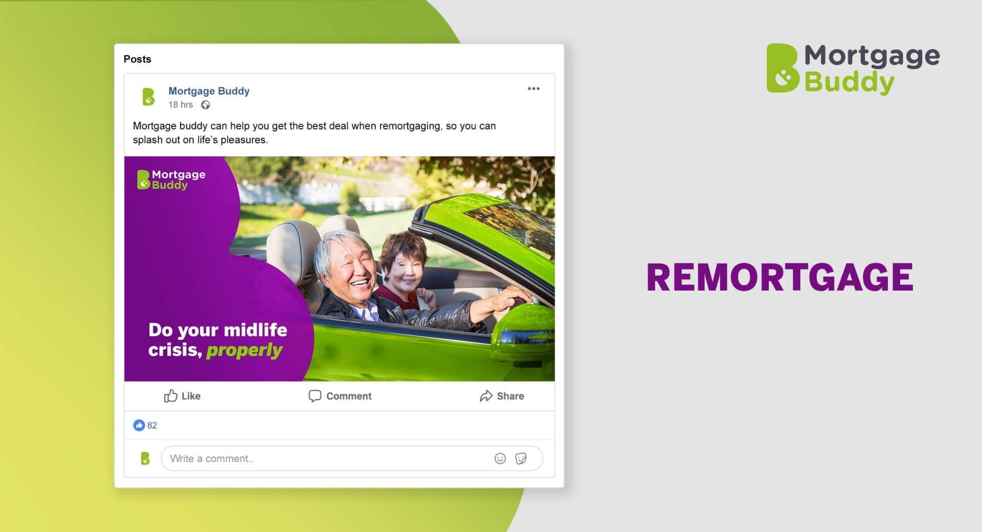 Screenshot of Facebook Advertisement showing a middle-aged couple driving a sports car