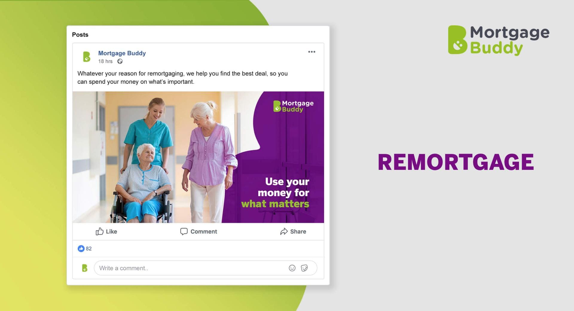 Screenshot of Facebook Advertisement showing a woman in a wheelchair, with a nurse pushing her, and a woman walking along side