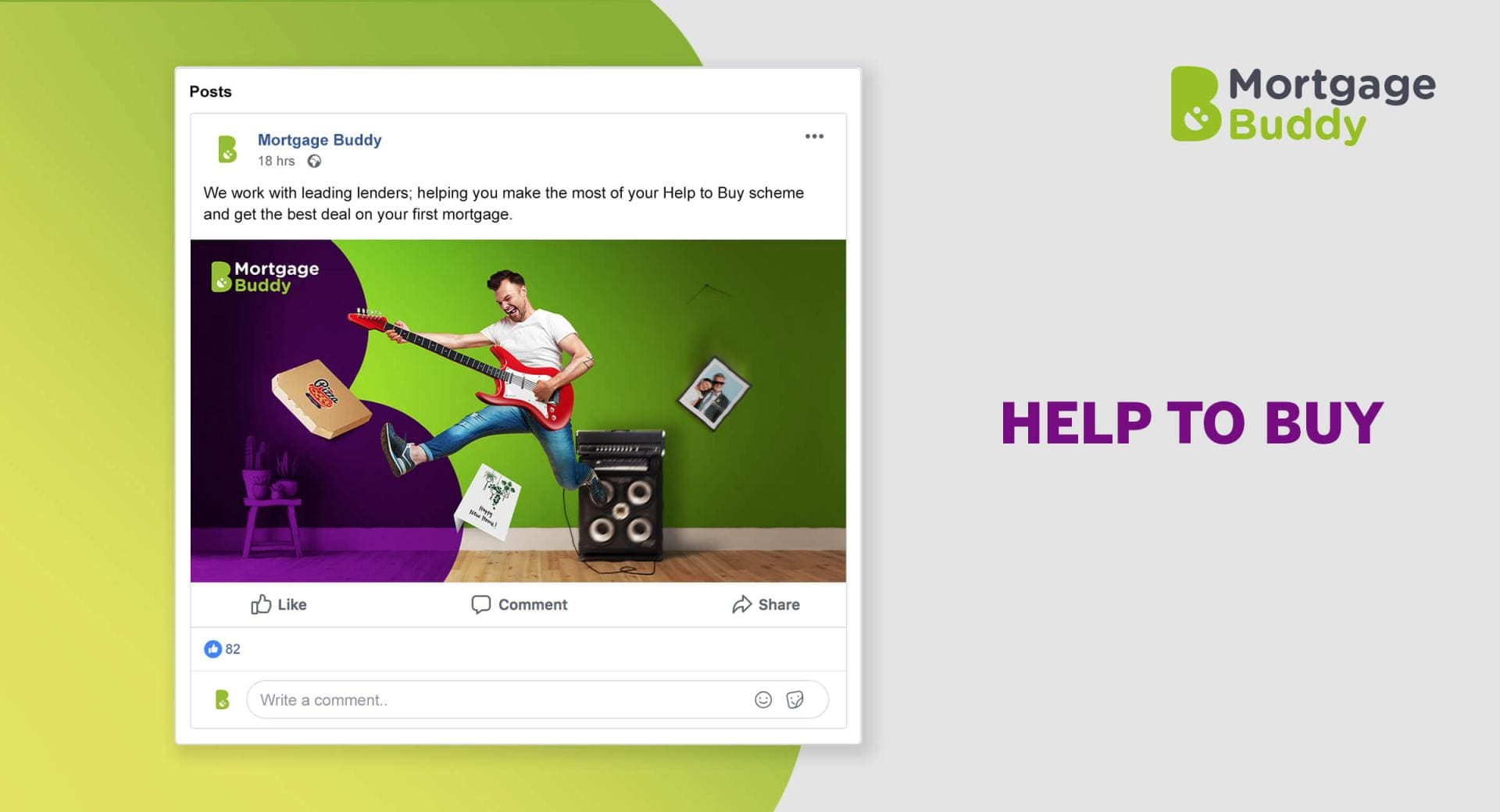 Facebook advertisement showing a Man playing guitar, jumping in the air, and a pizza box, photograph of elderly people, and New Home Card flying around the room