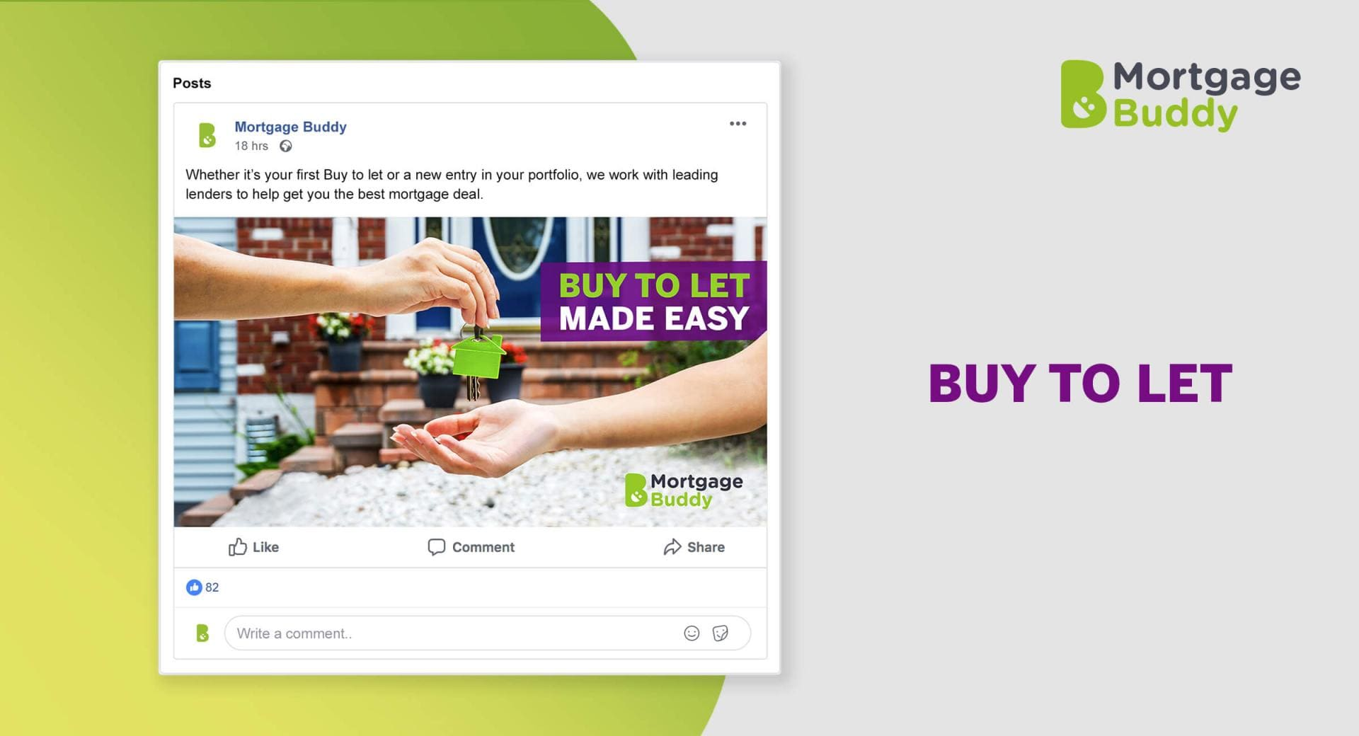 Screenshot of Facebook Advertisement showing a hand passing green house keys to another hand