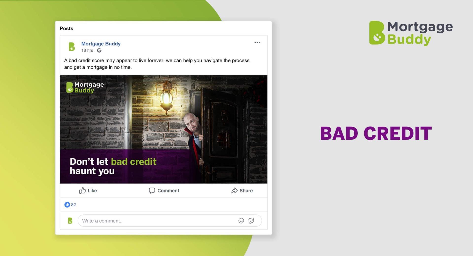Screenshot of Facebook Advertisement showing a vampire peaking from behind a door.