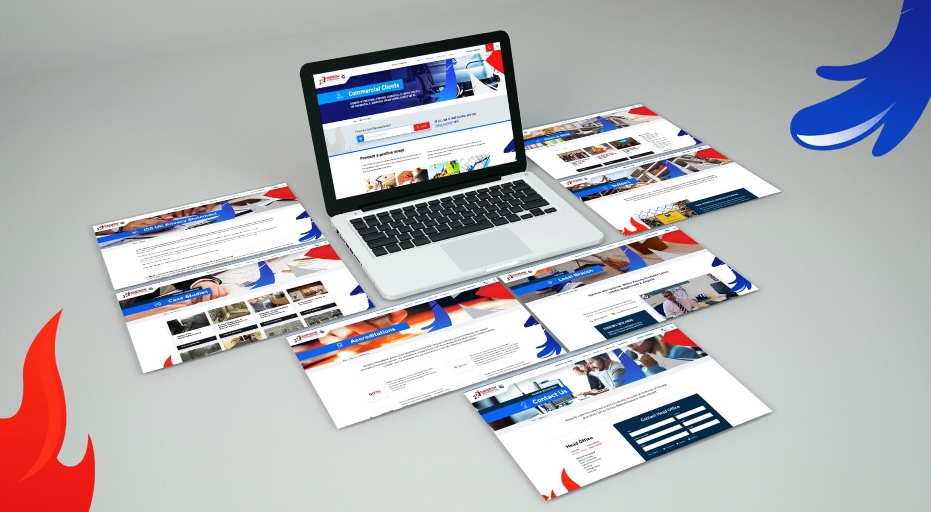 Rainbow International Mockup showing all website pages
